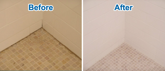Before and after tile re-grouting and shower waterproofing